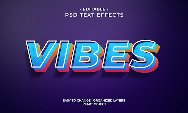 Modern colorful vibes text effect