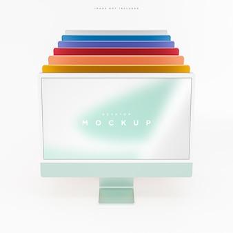 Макет экрана рабочего стола современного компьютера многоцветный для презентации 3d рендеринга