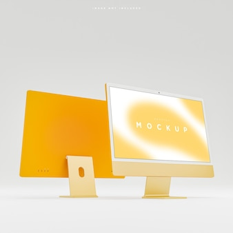 Желтый макет экрана рабочего стола современного компьютера для презентации 3d рендеринга