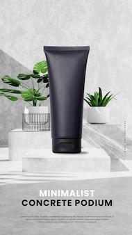 Modern concrete podium with plant and sunshine portrait