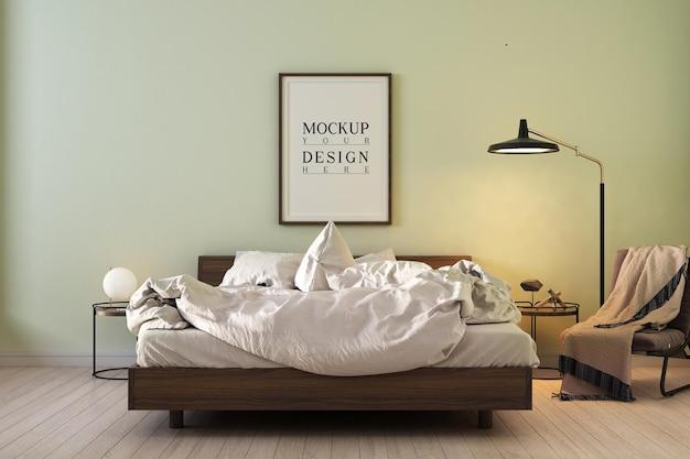 モックアップデザインのポスターフレームとモダンな現代的なベッドルームのデザイン