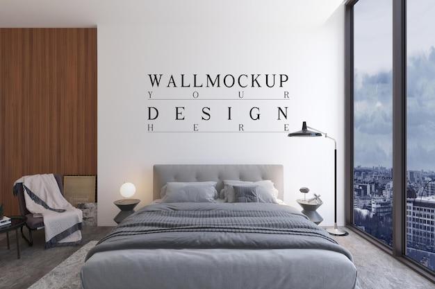 モックアップデザインの壁とモダンな現代的なベッドルーム