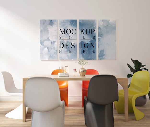 Modern contemporary dinningroom design with mockup frame poster