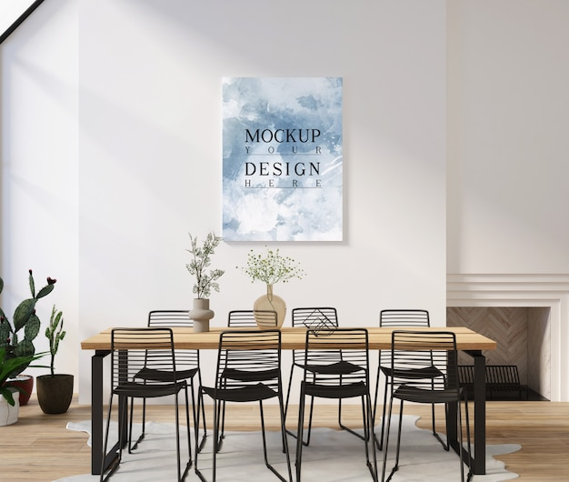 Modern contemporary dinningroom design with mockup frame