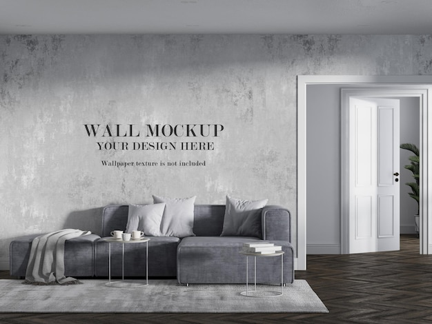 Modern corner couch in front of empty wall