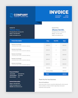 Modern corporate abstract business invoice template design