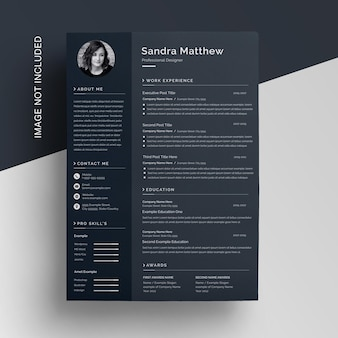 Modern corporate dark black curriculum resume template