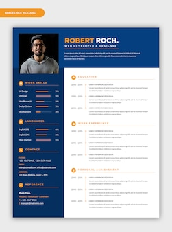 Modern corporate dark blue curriculum vitae resume template