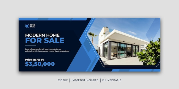 Modern and corporate estate modern home sale social media cover template