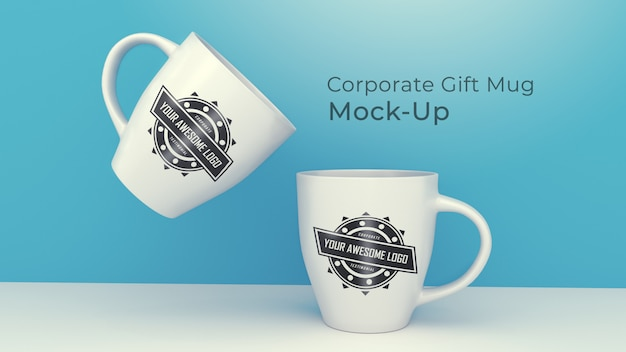 Modern corporate gift mug mock-up