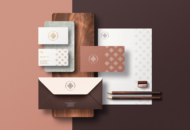 Modern corporate identity scene creator & mockup with pressed print effect