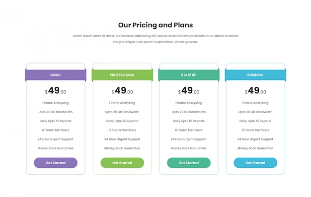 Modern creative pricing table