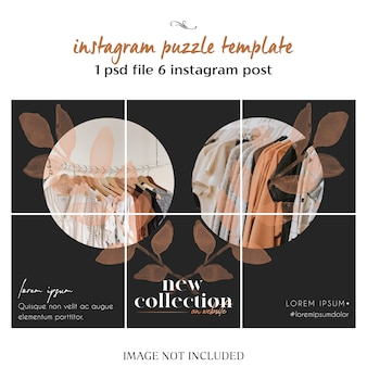 Modern, creative and stylish instagram puzzle, grid, collage template
