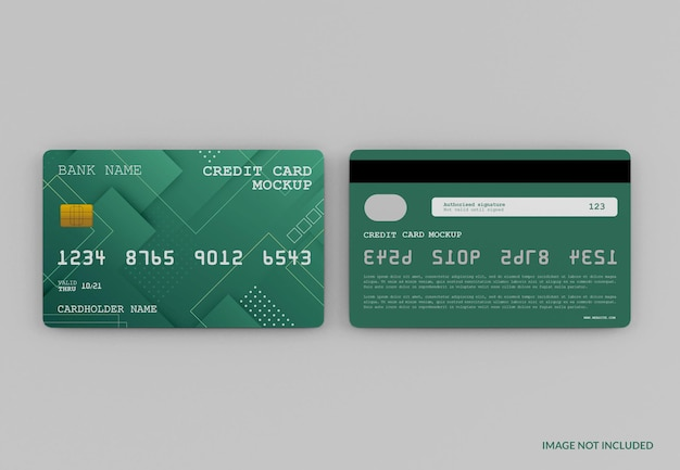 Modern credit card mockup isolated