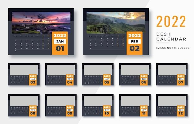 Современный темный настольный календарь на 2022 год