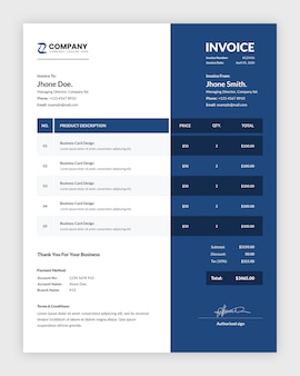 Modern dark blue business invoice template