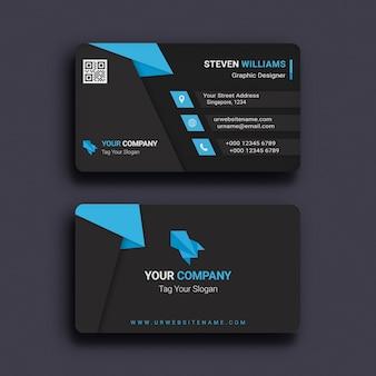 モダンなダークビジネスカードPSDテンプレート青と黒の抽象的なデザイン