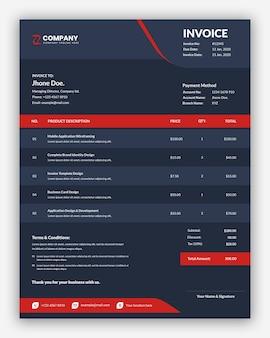 Modern dark business invoice template