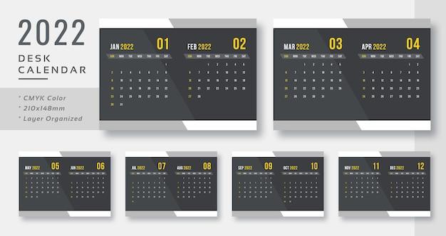 Современный темный настольный календарь на 2022 год распечатать готовый шаблон
