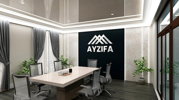 Modern design meeting room black wall logo mockup