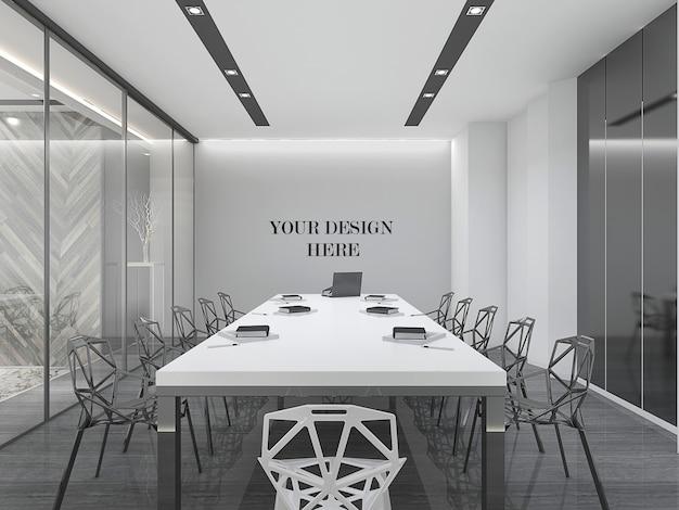 Современный дизайн конференц-зала стены макет с мебелью и стеклянной стеной
