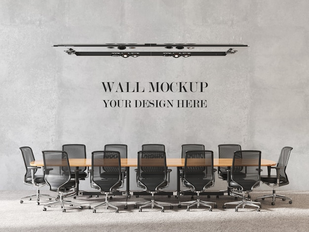 Modern design meeting room wall mockup with furniture