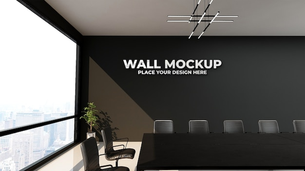 Modern design meeting room with black wall mockup