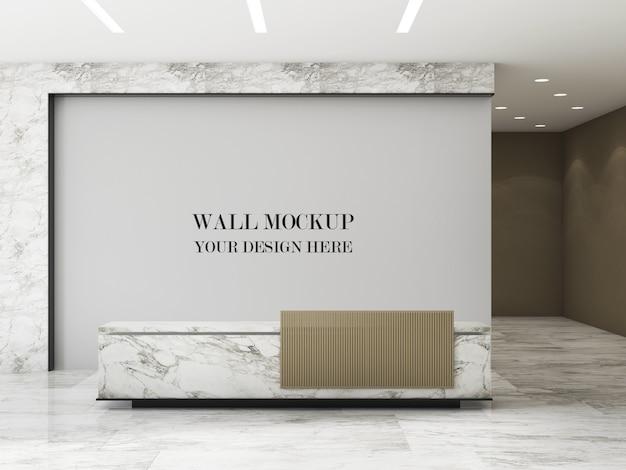 Modern design office front desk wall mockup
