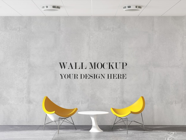 Modern design office wall mockup with furniture