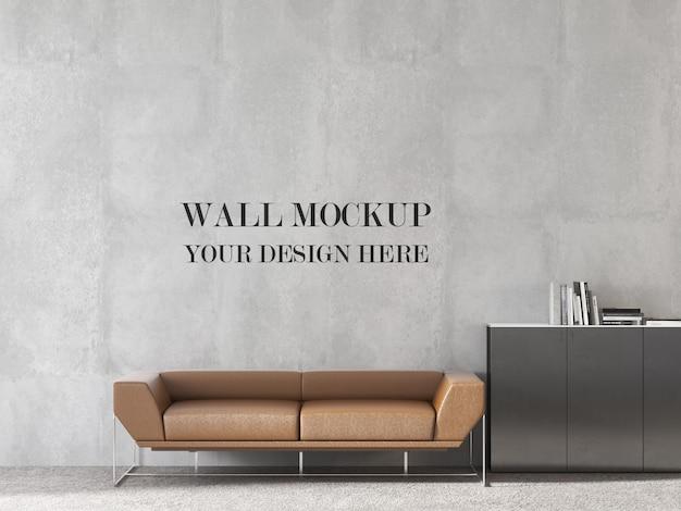Современный дизайн офисной стены макет с диваном оранжевого цвета