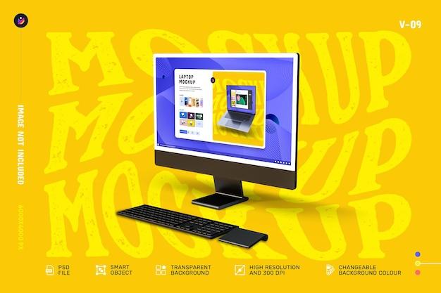 最新のデスクトップコンピュータ画面のモックアップ