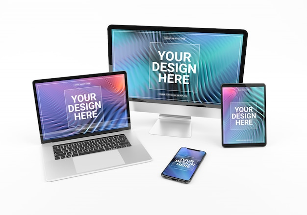Modern devices with smartphone laptop computer and tablet on white mockup