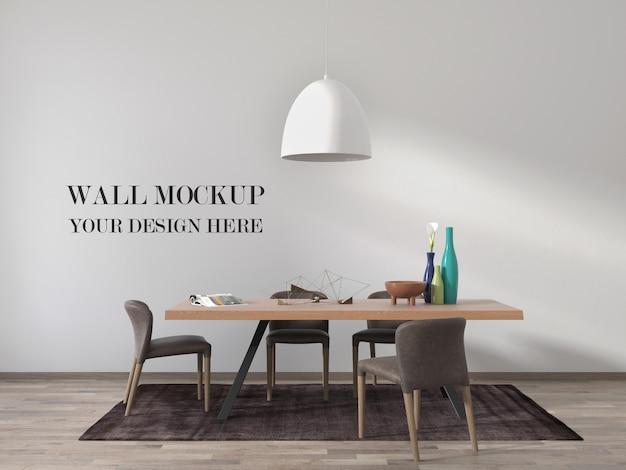 Современная столовая макет стены с потолочной лампой и столом