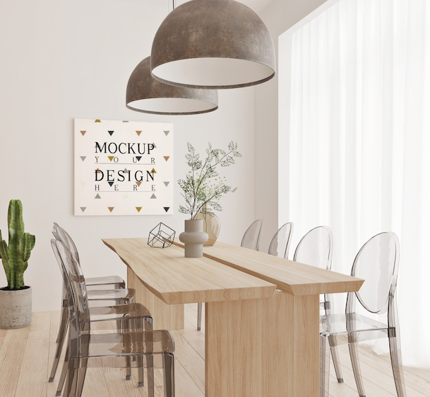 Modern dinningroom design with mockup frame