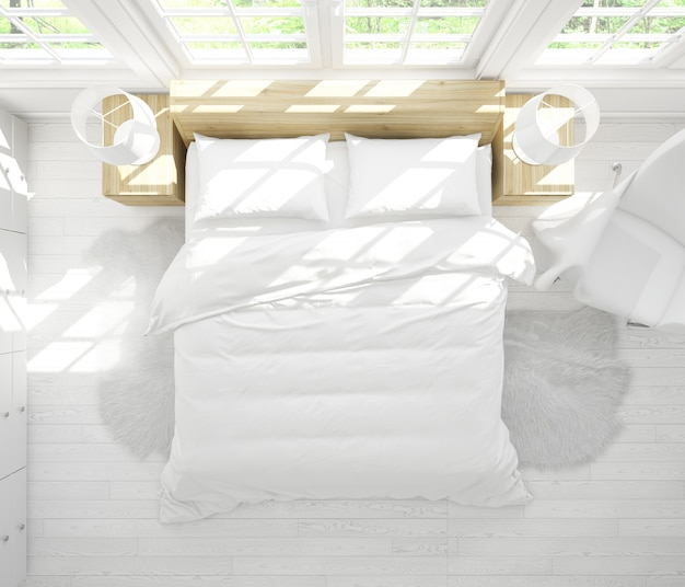 Современная двуспальная кровать макет в яркой спальне на вид сверху