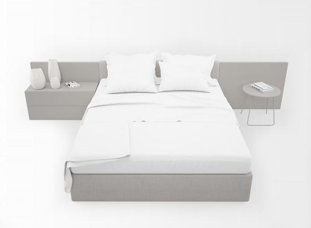 Современная двуспальная кровать макет изолированные изолированные