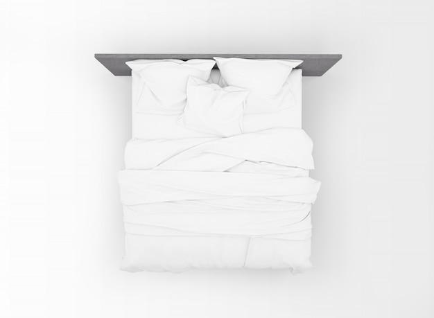 Современная двуспальная кровать макет, изолированные на вид сверху