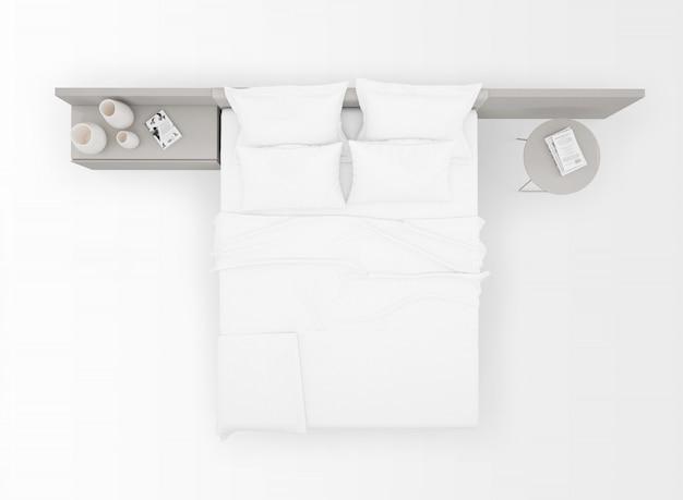 Mockup di letto matrimoniale moderno isolato sulla vista dall'alto