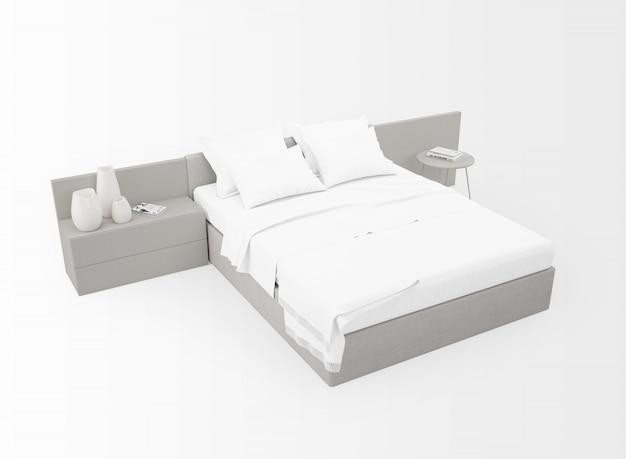 Современная двуспальная кровать макет изолированы