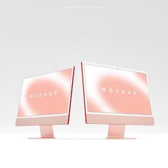 Современный двойной компьютерный макет экрана рабочего стола красный для презентации 3d рендеринга