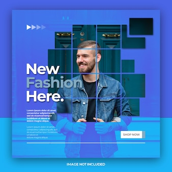 Modern duotone fashion sale instagram or social media post template