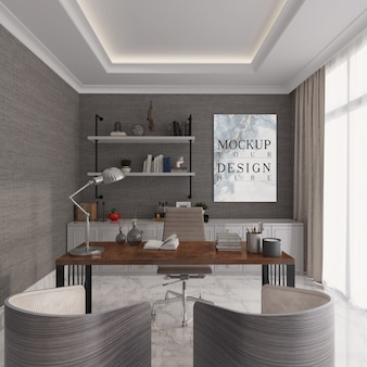 Modern and elegance study room with mockup poster