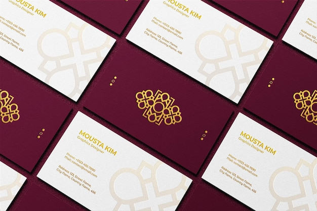 Modern and elegant business card with embossed logo mockup