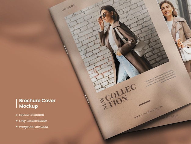 Modern, elegant and minimalist brochure or magazine cover mockup with template layout design