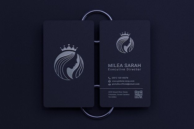 Modern and elegant vertical business card mockup with silver logo letterpress effect