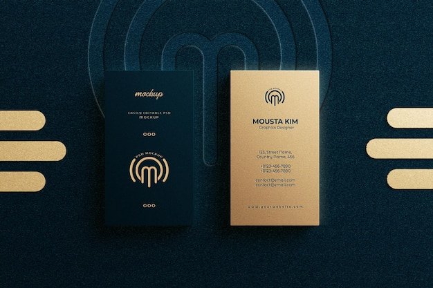 Modern and elegant vertical business card with embossed logo mockup