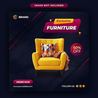 Modern and exclusive furniture sale instagram banner or social media post template