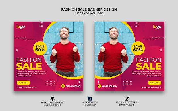 Modern fashion sale social media instagram square banner template