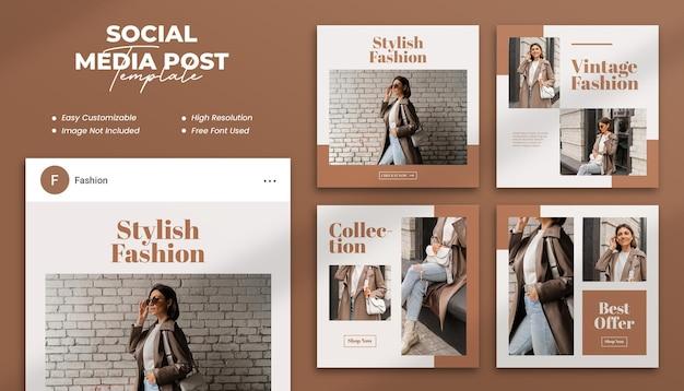 現代のファッションソーシャルメディアの投稿またはwebバナーの正方形のテンプレート