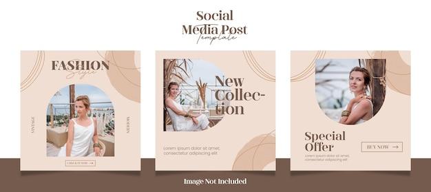 現代のファッションソーシャルメディアの投稿またはwebバナーテンプレート